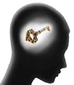 Image of a human head with a key inside