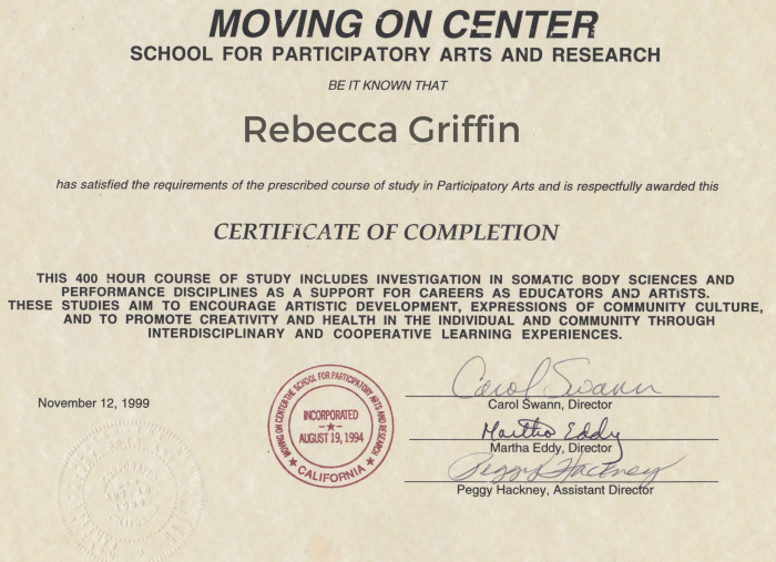 Moving on Certificate - Rebecca Griffin